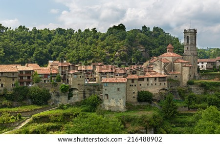 old Catalan village in Pyrenees. Rupit, Spain  - stock photo