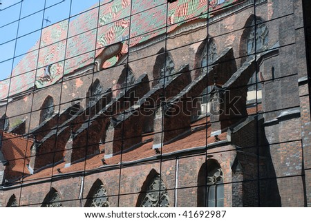 Old cathedral in a mirror - stock photo