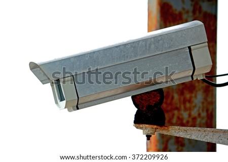 Old CCTV camera - stock photo