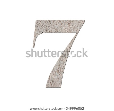 old cement floor number 7 , isolated on white background