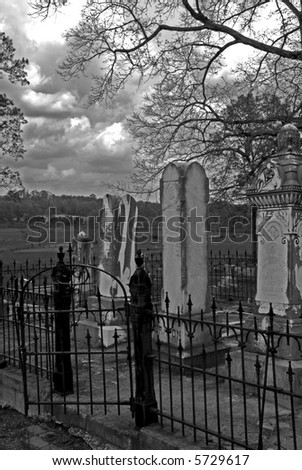Old Cemetery during Stormy Weather - stock photo