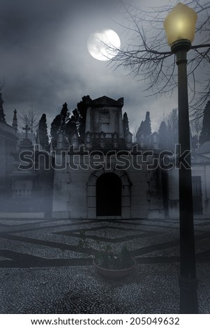 Old cemetery in a foggy full moon night - stock photo