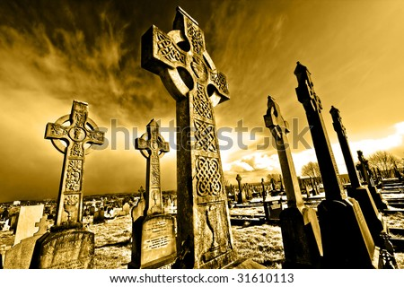 old cemetery on belfast.crosses - stock photo