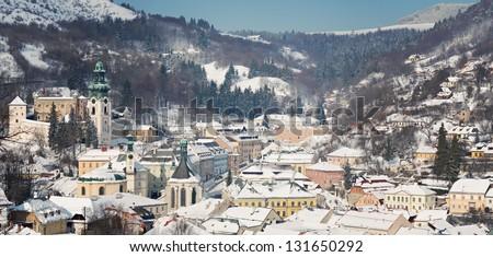 Old center of Banska Stiavnica in winter, Slovakia UNESCO - stock photo