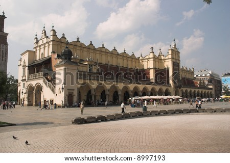 old centre of ity - Cracow - Poland - Sukiennice - stock photo