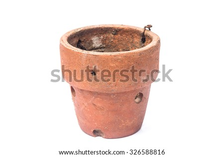 Old ceramic pot isolated on a white background - stock photo