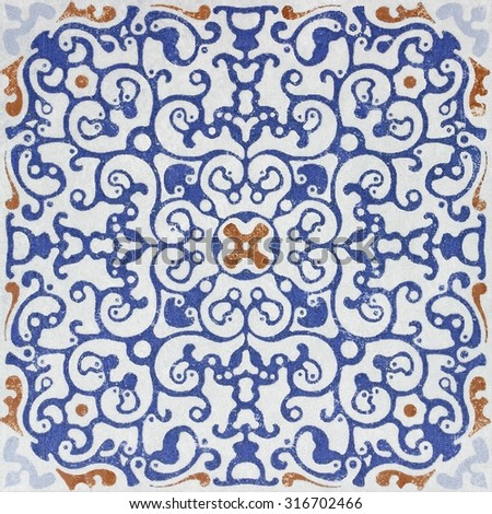 Old ceramic tiles patterns  in the park public. - stock photo