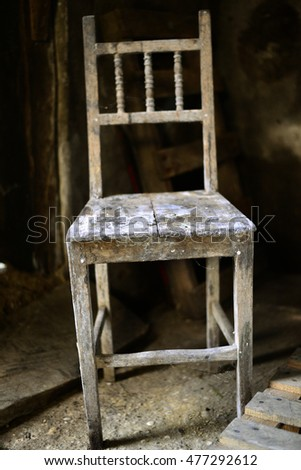 Old chair in abandoned room