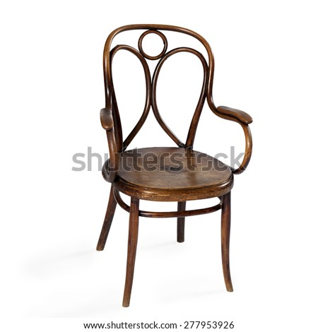 Old chair isolated on a white background - stock photo