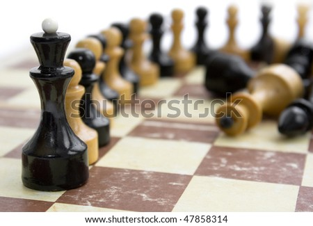 old chess on old paper board