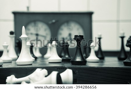 old chess pieces closeup