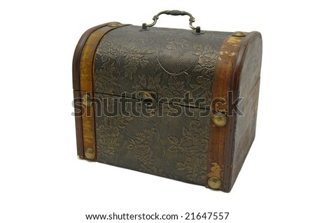 Old chest isolated against a white background