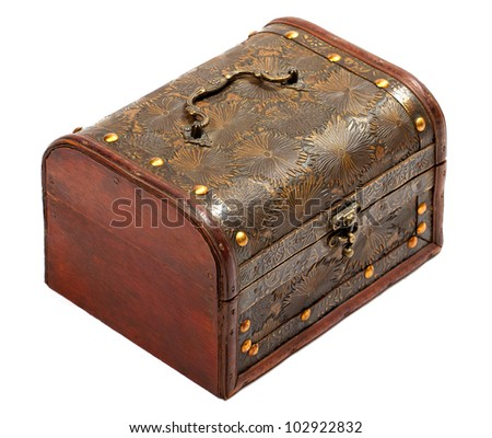 Old chest isolated on white background - stock photo