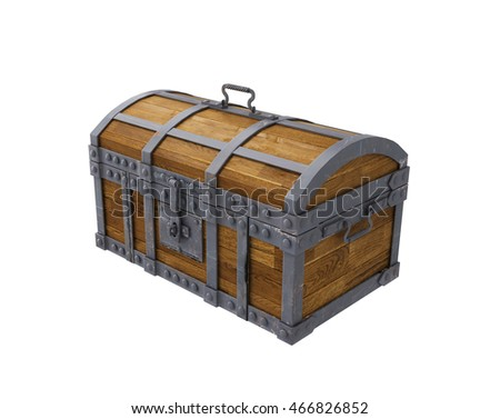 old chest on white background, isolated image. 3d rendering
