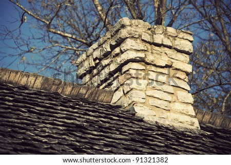 Old Chimney on the top of historic slaves hut in Nashville