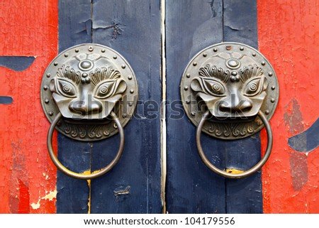 Old chinese door - stock photo