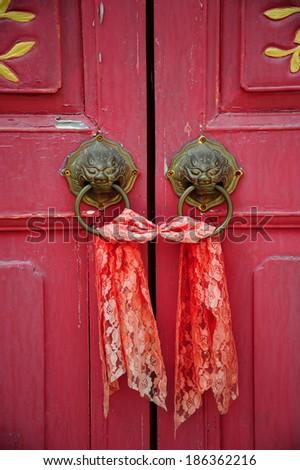 Old chinese door - stock photo