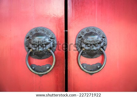 Old Chinese Door in Singapore - stock photo
