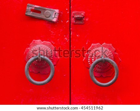 Old chinese door style, Chinese red door, Vintage style. - stock photo