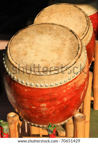 old chinese drum - stock photo