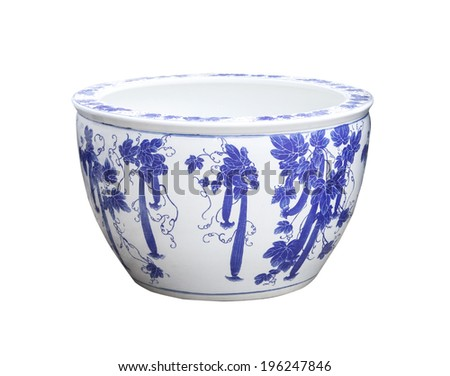 old chinese flowers pattern style painting on the ceramic bowl, porcelain isolated white object  - stock photo