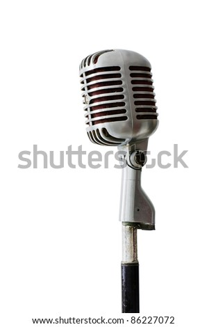 Old Chrome microphone isolated on white background - stock photo