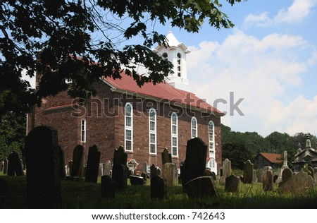 Old Church and Cemetery - stock photo