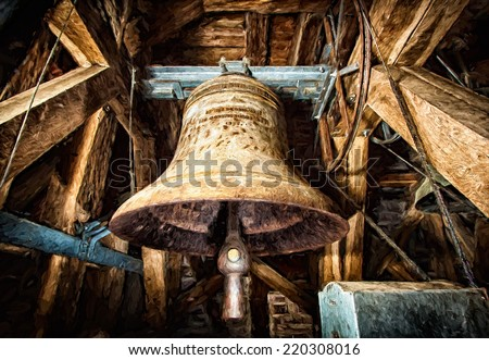 Old Church bell - oil painting - stock photo
