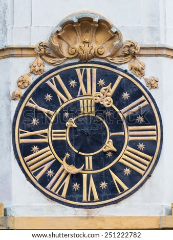 Old church clock in Prague - stock photo