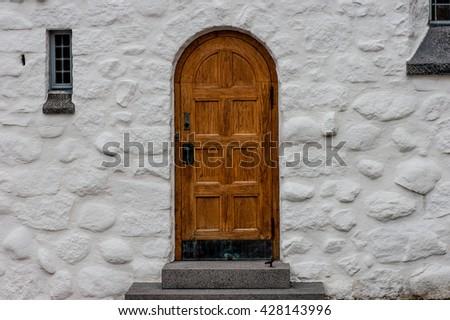 Old church door - stock photo