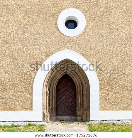 OLD CHURCH DOOR - GOTHIC ARCHITECTURE - stock photo