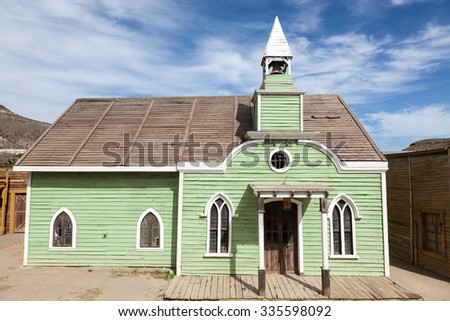 Old church in an abandoned american ghost town - stock photo