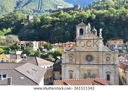 Old church in Bellinzona, Switzerland - stock photo