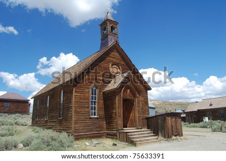 old church in bodie ghost town, california - stock photo