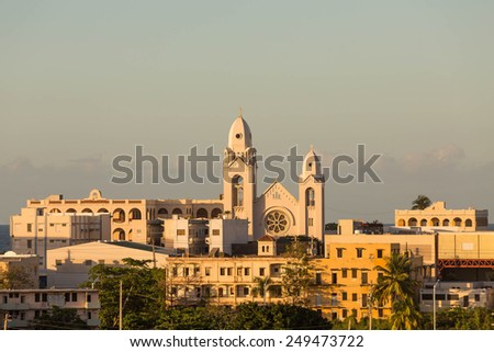 Old church in San Juan, Puerto Rico in wam afternoon light - stock photo