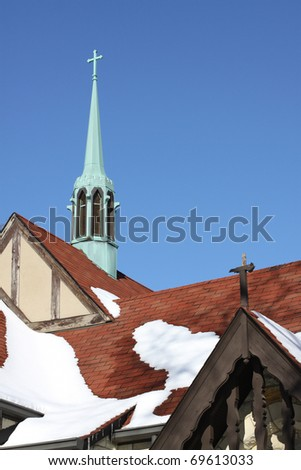 Old Church in Winter Scenery - stock photo