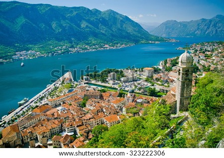 Old church inside Stari Grad, Kotor, Montenegro. Kotor bay and Old Town from Lovcen Mountain. Montenegro. - stock photo