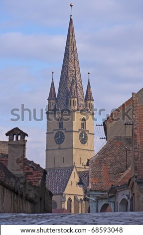 old church, lutheran cathedral, tower in Sibiu Romania in medieval architecture area