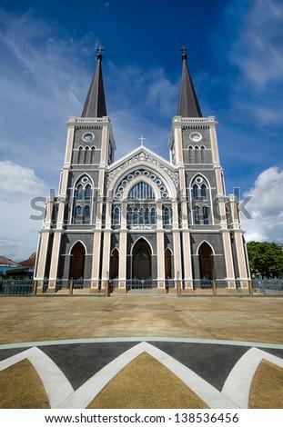 Old church of Roman Catholic Christianity in chantaburi province,Thailand - stock photo