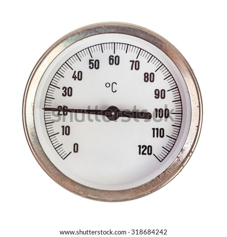 Old circular celsius thermometer isolated over white background - stock photo
