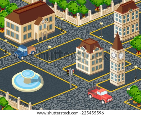 Old city block with buildings and pavement - stock photo