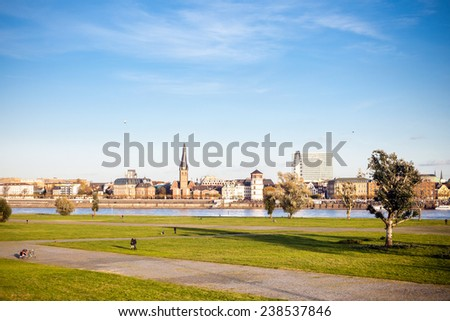 Old city center panorama of Dusseldorf - stock photo