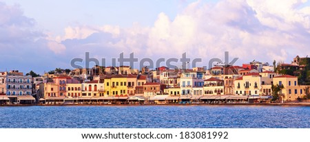Old city embankment  of Chania in Crete, Greece. - stock photo