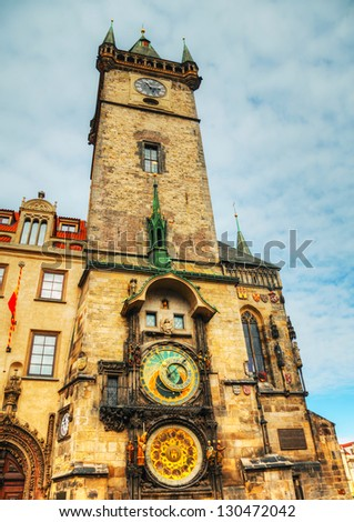 Old City Hall in Prague early in the morning - stock photo