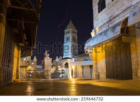 Old city Jerusalem at night - stock photo