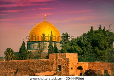Old city Jerusalem at sunset, Israel - stock photo