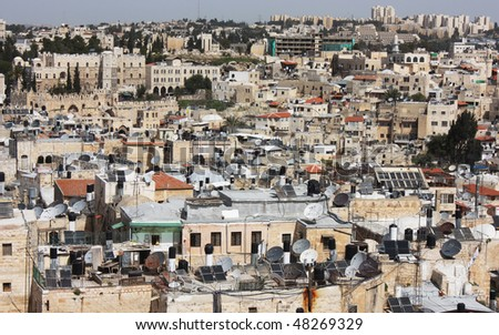 Old City of Jerusalem. Muslim Quarter, West Bank. Top view