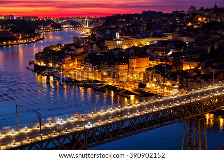 Old city of Porto at sunset, Portugal - stock photo