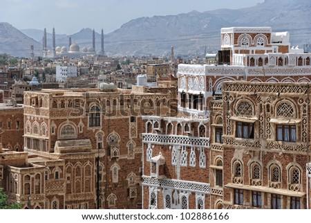 Old city of Sanaa, capital of Yemen - stock photo
