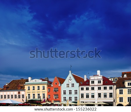 Old city, Tallinn, Estonia. Bright multicolor houses on the Town hall square.  - stock photo